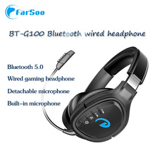 BT100  LED Light Wireless Bluetooth Headphone with Dual Microphone Wired Cable Deep Bass Gaming Headset  for PC PS4 XBOX Laptop