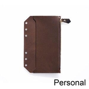 Image 2 - Genuine Leather Zipper Bag For Personal Rings Notebook 6 Hole Card Pocker Storage 17 x 11cm For Planner Organizer Sketchbook