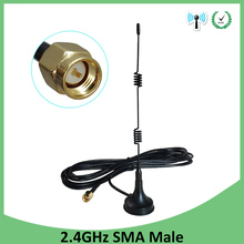 Wifi Antenna Extension-Cable Magnetic-Base Connector Router Sma Male 5dbi 3-Meters 2pcs