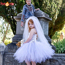 Vintage Dead Bride Girls Tutu Dress with Veil Children Corpse Lady Halloween Carnival Cosplay Costume Kids Fancy Tulle