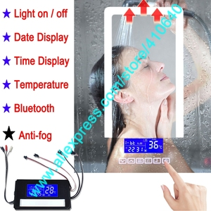 Image 1 - K3015CBF מגע מתג פנל זמן תאריך טמפרטורת תצוגת אנטי ערפל רחצה אמבטיה ארון LED אור מראה שיפוץ