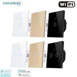 EU WIFI Touch Switch APP Smart life Tuya wireless remote control Support Alexa voicel AC110V 240V 1/2/3gang Wall light switches