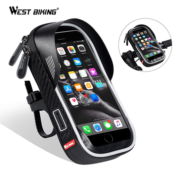 WEST BIKING Waterproof Bicycle Bag Mobile Phone Mount Bag For 6.5 inch iPhone Samsung Phone Mount MTB Cycling Handlebar Bags