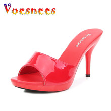 Voesnees Women Slippers 2021 Outside High Heels 9 13 15 cm sexy High Platform Thin Heels Stiletto Ladies Party Shoes Mules Slide