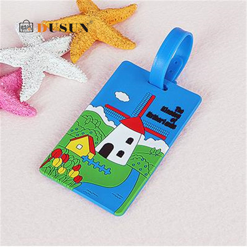 Hot Cartoon Luggage Tag And ID Address Holder Baggage Label Silica GelIdentifier Cute Travel Accessories Luggage Classification