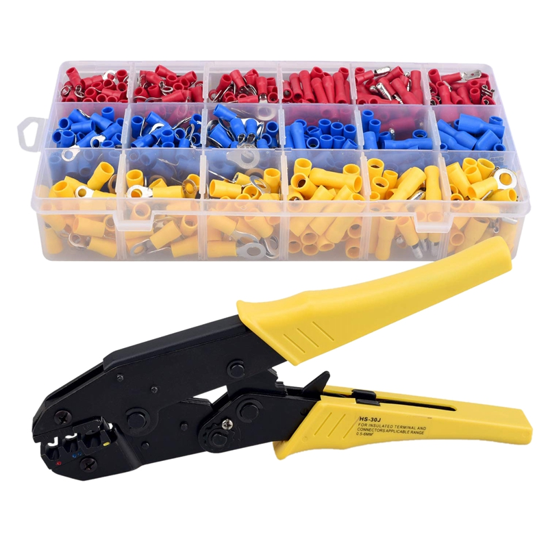 Insulated Crimping Ratcheting Tool with 700 PCS Wire Electrical Terminal Connectors for Heat Shrink Connectors|Pliers| |  - title=