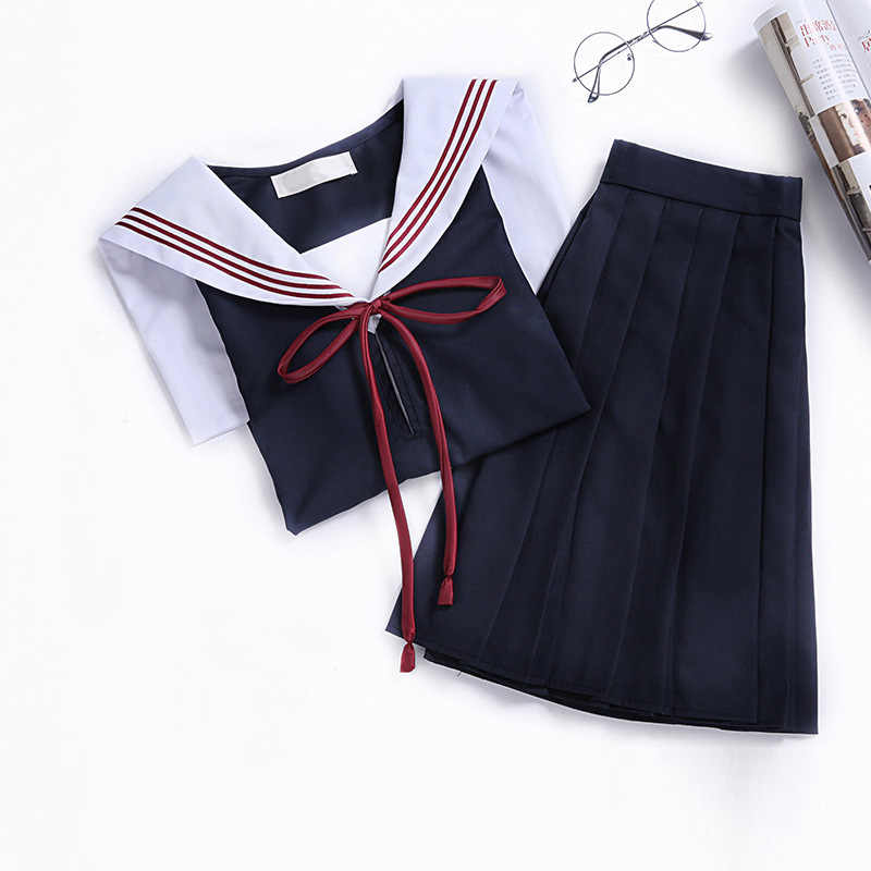 Jk Schooluniform Orthodoxe College Wind Zwarte Lange mouwen Vrouwelijke Cos Plooirok Japanse Pak Matrozenpakje Student Dragen XXL
