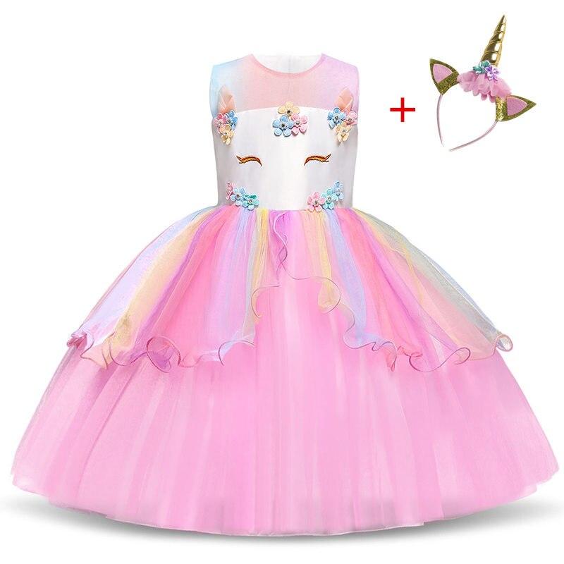 Причудливое платье-пачка для девочек с единорогом, Пастельное Радужное платье принцессы для девочек на день рождения, детское платье на Хэл...