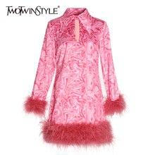 TWOTWINSTYLE женское платье с принтом в стиле пэтчворк с перьями, воротник с лацканами, длинный рукав, Мини платья с кисточками для женщин,, осенняя мода, новинка