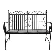 Iron Double Sofa Chair Black Patio Park Garden Outdoor Bench Patio Porch Chair for Indoor Outdoor Patio Garden cheap CN(Origin) solid (44 5 x 17 5 x 37) (113 03 x 44 45 x 93 98)cm (L x W x H) 21692715 Garden Chair Minimalist Modern Outdoor Furniture