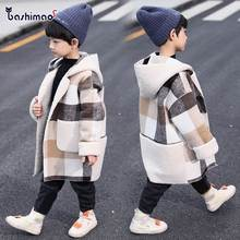 Длинная шерстяная куртка с капюшоном для мальчиков осень-зима года, Новое Детское плотное шерстяное пальто, одежда Детский клетчатый плащ для подростков, B357