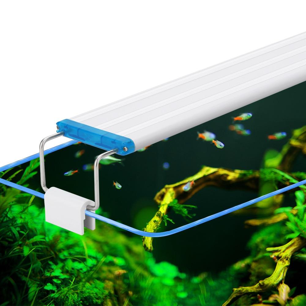 18-48CM Super Slim LEDs Aquarium Lighting Blue White Light Extensible Waterproof Clip On Lamp For Fish Tank Light US EU Plug