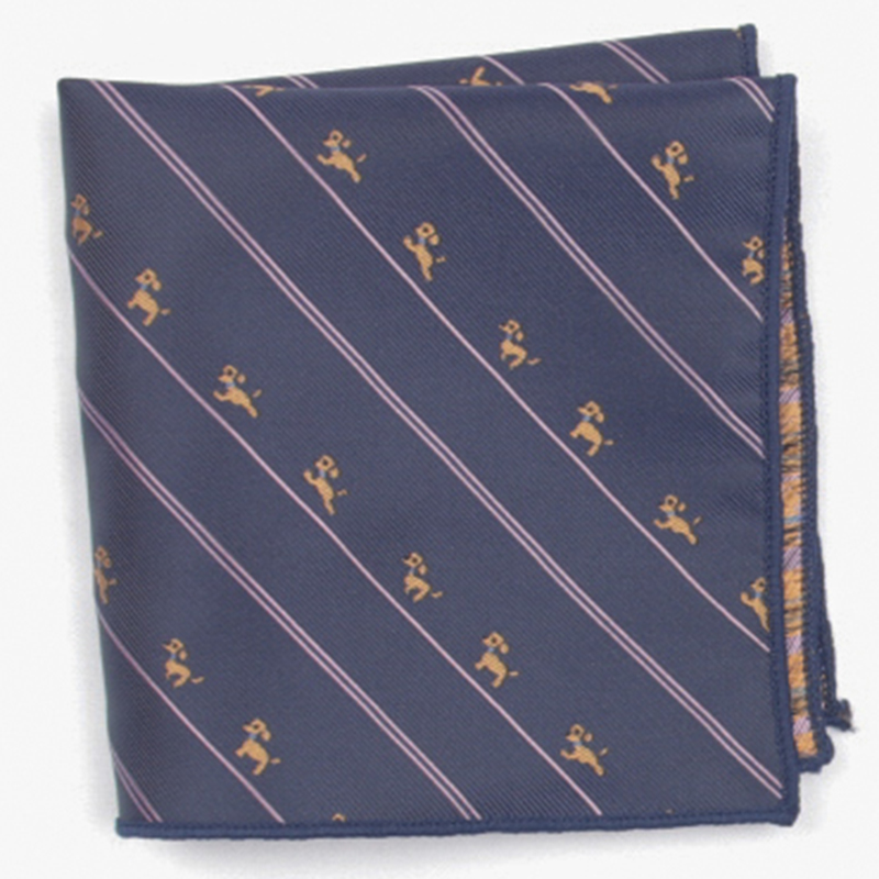 Navy Diagonal Stripe Patterned Pocket Square With Patterns Handkerchief