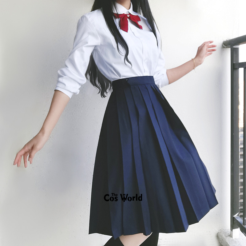 Solid Colors Girl's Japanese Summer High Waist Pleated Skirts Women's Long Dress For JK School Uniform Students Cloths