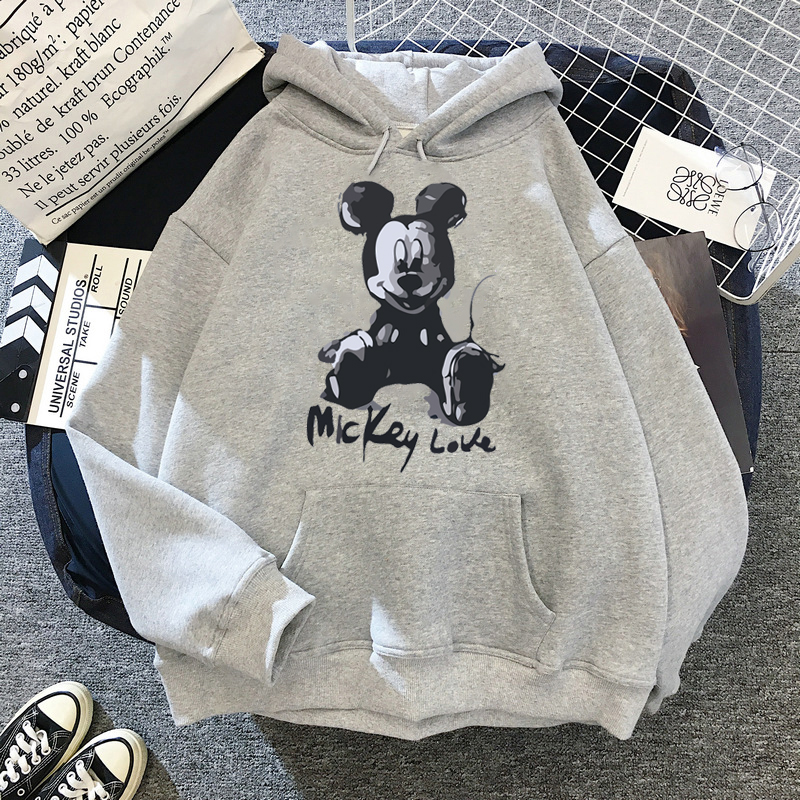 Disney 2021cartoon print sweatshirt women Funny hip hop Mickey Mouse print autumn and winter fashion Harajuku style hoodie women 9