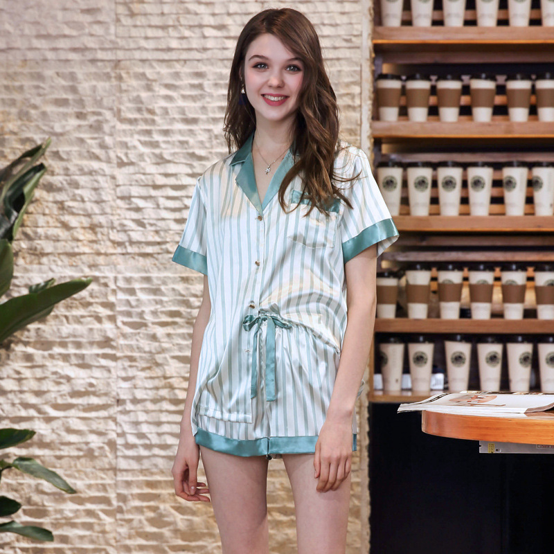 Yao Ting Imitated Silk Fabric Summer WOMEN'S Pajamas Female Summer Short Sleeve Shorts Stripes Piece Tracksuit Wholesale TZ751