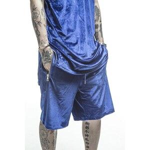Image 3 - บุรุษกำมะหยี่กำมะหยี่ Hip Hop ตาข่ายขนาดใหญ่ Velour สั้นกระโปรงสีดำ/สีขาว/สีแดง/สีฟ้ากำมะหยี่ด้านข้างซิป Joggers กางเกงขาสั้นชาย