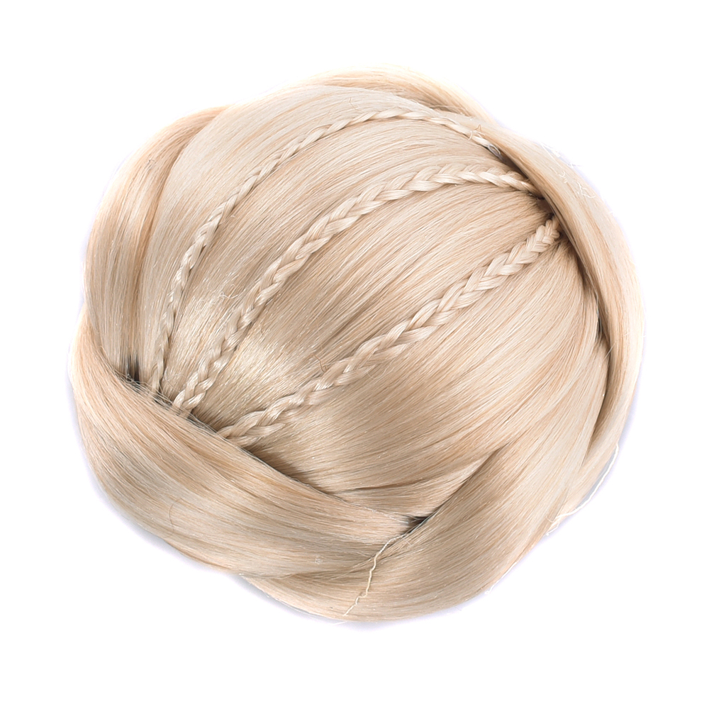 Soowee 6 Colors Synthetic Hair Braided Chignon Blonde Clip In Hair Buns Cover for Women Donut Hair Roller Black Hairpieces