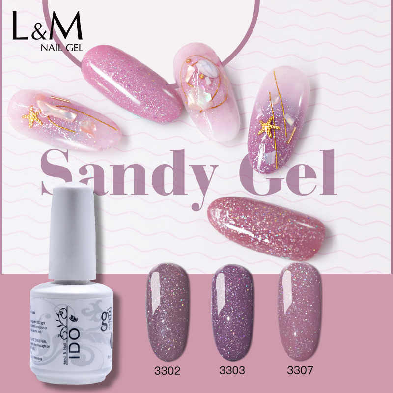 1 PC Ido Baru Sandy Gel Glitter Berwarna Seri UV LED Nail Gel Rendam Off Gel Memoles Merek Kuku gel Cat Kuku