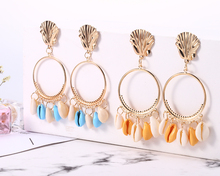 Fashion Gold Color Metal Shell Drop Earring Exaggerated Tassel Circle Earrings Bohemian Colorful Female Beach Accessoriess