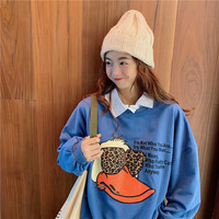 Winter Women Sweatshirts Hoodies Leopard Sunglasses Printed Casual Pullover Cute Top Long Sleeve O Neck Fleece Tops Donald Duck