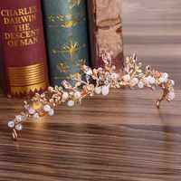Tiaras Für Frauen Rosa Kristall Strass Blumen diademe und kronen Gold Metall Hochzeit Haar Schmuck Kopfschmuck Braut Haarband