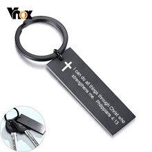 Vnox – porte-clés à graver en acier inoxydable noir, cadeau personnalisé père mari petit ami pour lui