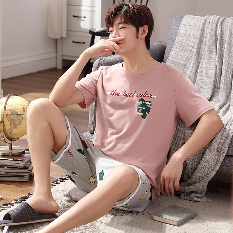 Summer Cotton Pajamas Short Sleeve Youth Simple Homewear Suit Thin Style Set