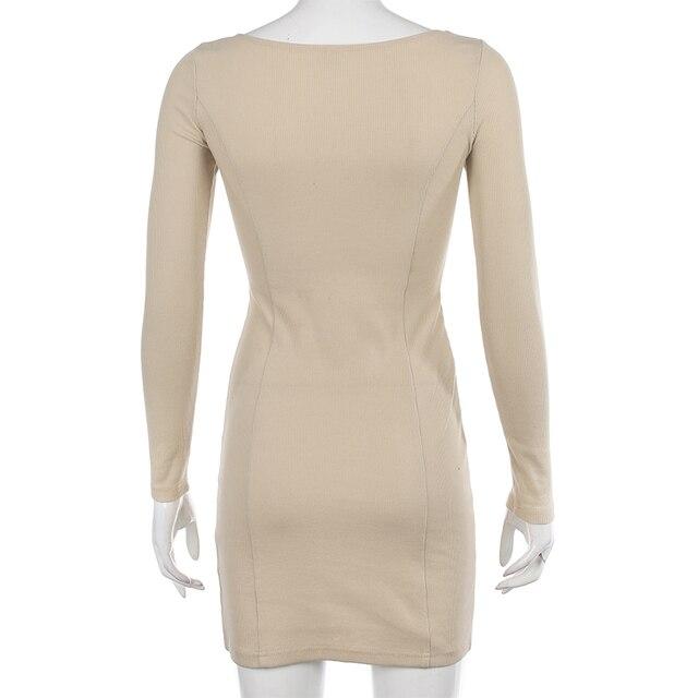 Darlingaga Elegant Square Neck Ribbed Black Dress Female Knitted Side Split Bodycon Dress Long Sleeve Fashion Mini Dresses Basic 6