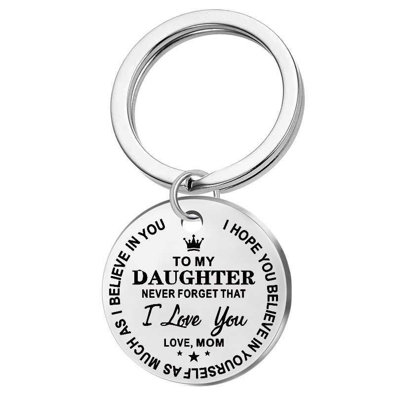แกะสลักลูกชายของฉันลูกสาวแรงบันดาลใจพวงกุญแจหัวใจพวงกุญแจรถสแตนเลสกุญแจ Love ของขวัญเด็ก