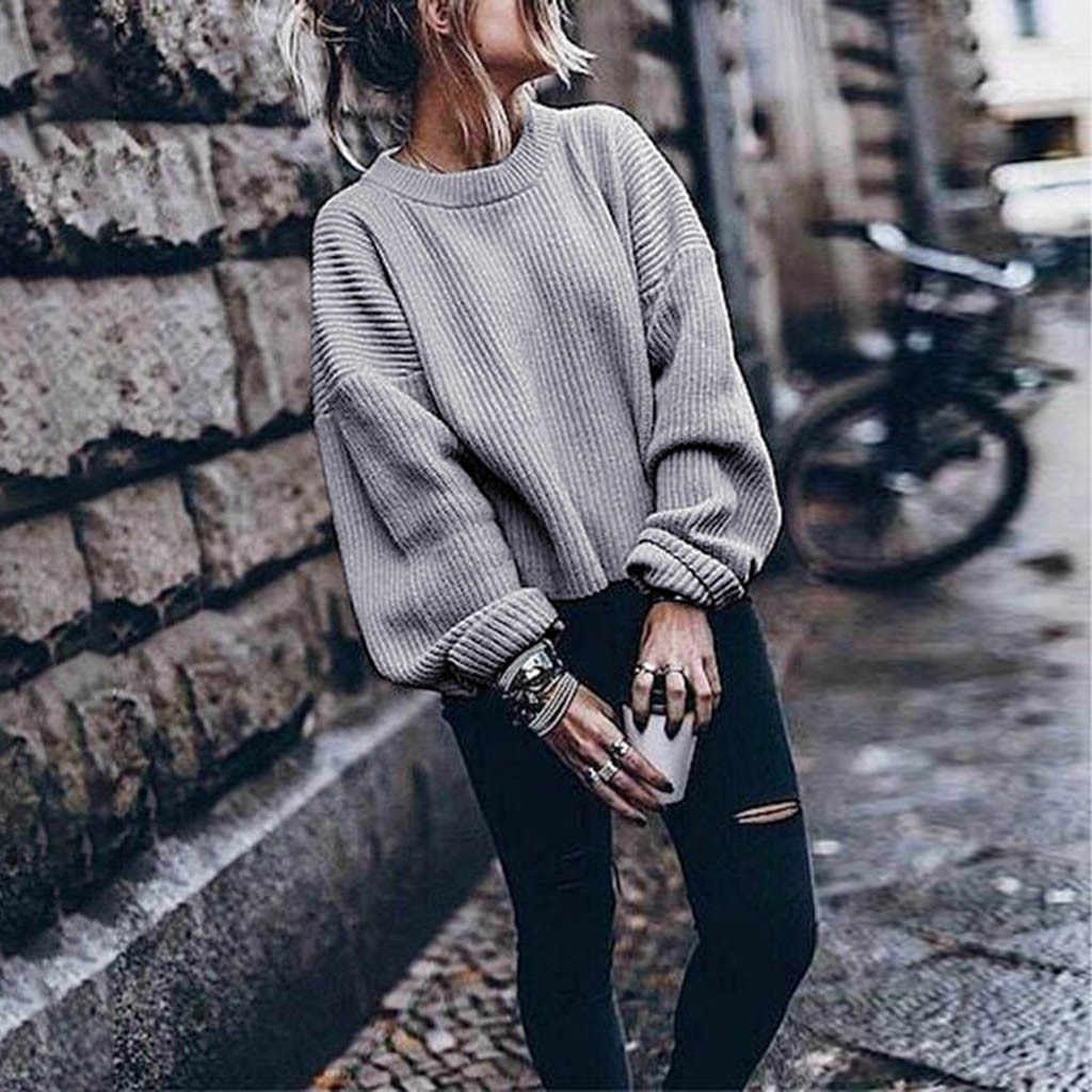 Cachemire pull femmes surdimensionné pour les femmes chaud hiver et automne à manches longues col rond couleur unie élégant laine lanterne