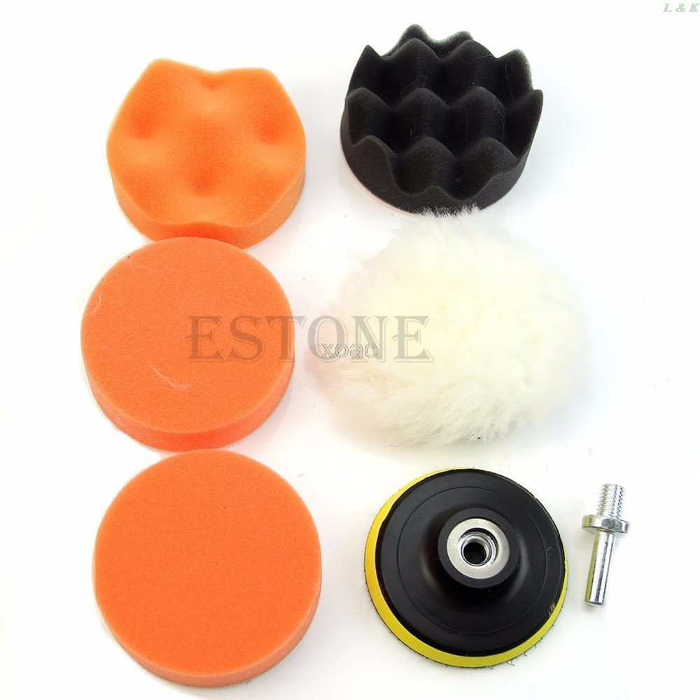 7 Pcs/set 3 Inch Buffing Pad Auto Car Polishing Wheel Kit Buffer + M14 Drill Adapter   M12 Dropship