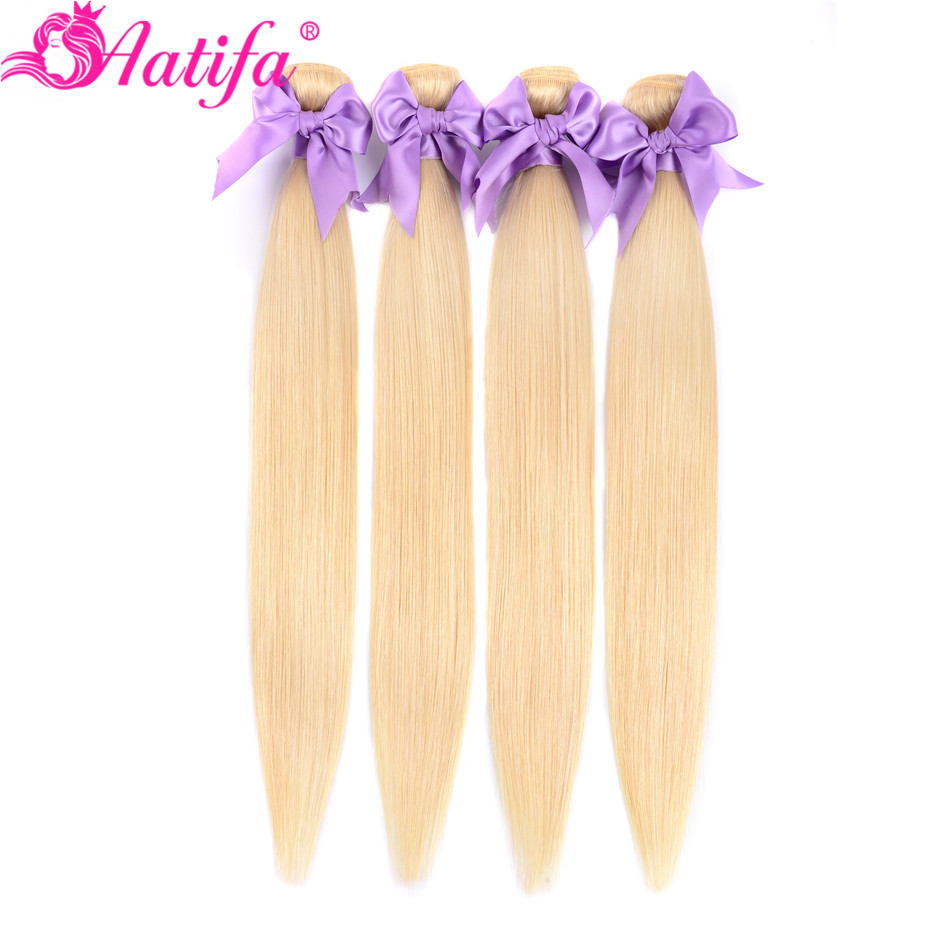 Malaysian Straight Hair 613 Honey Blonde Bundles 1/3/4 Bundles Remy Hair Weave Bundles 100% Human Hair Extensions 8-28 Inch image