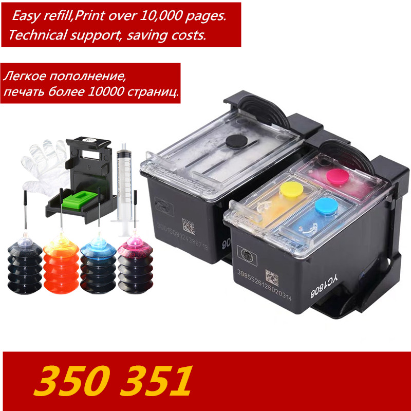 GraceMate 350 351XL Refillable Cartridge Replacement for <font><b>Hp</b></font> 350 <font><b>351</b></font> D4200 C4480 C4580 C4380 C4400 C4580 C5280 C5200 C5240 image
