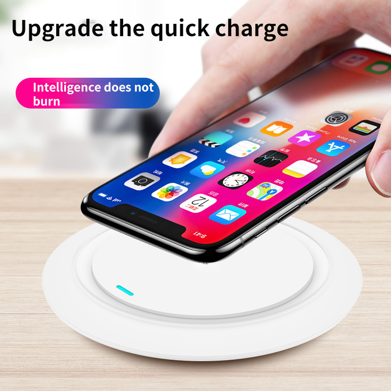 Wireless QI Fast Phone Charging Pad Charger Charging Wireless Induction Table Desktop Super Thin 7mm Thickness Charger with LED 1