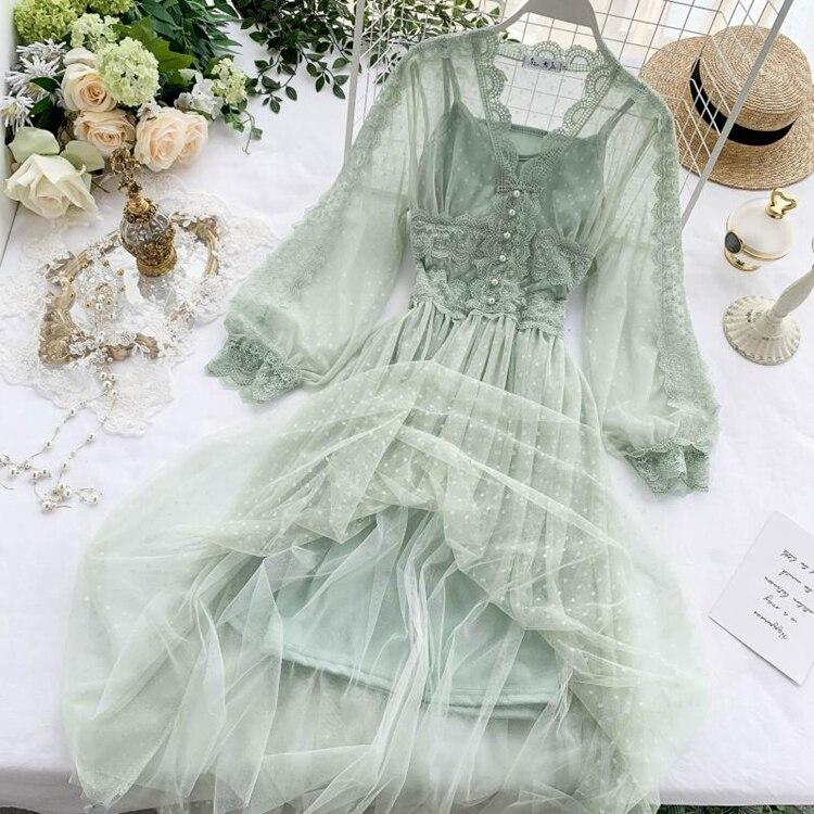 Lace Floral V-Neck Long Sleeve Polka Dot Dress 24