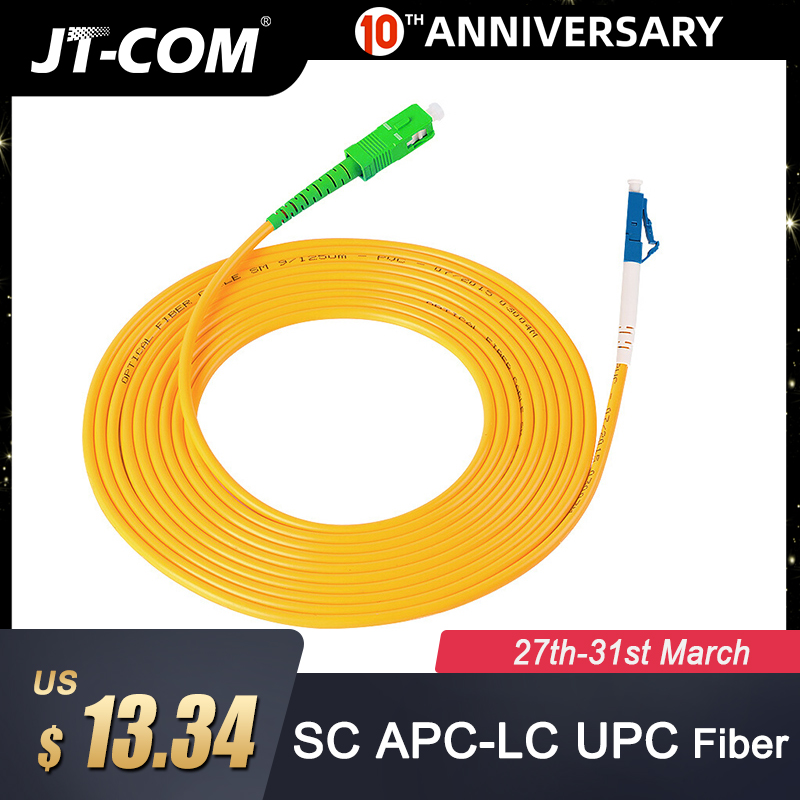 5pcs 5M Fiber Optic Patch Cord SC-LC Fiber Optic Jumper Cable SC//UPC-LC//UPC SM