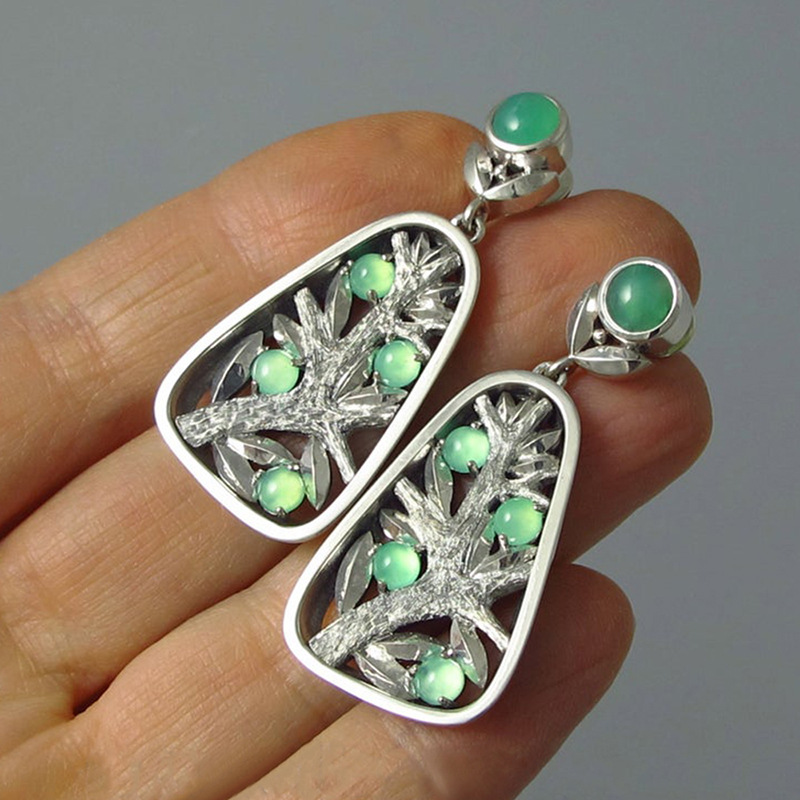 Hot Creative Vintage Tree Shaped Earrings for Women Silver Color Green Crystal Hollow Dangle Drops Earrings 2020 New Arrivals