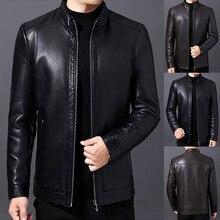 Мужские куртки, водонепроницаемые, на молнии, кожаные, со стоячим воротником, с длинным рукавом, утолщенное пальто, Осень-зима, на молнии, со стоячим воротником, модные пальто