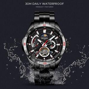 Image 2 - BOYZHE nieuwe holle mechanische horloge met maan fase functie waterdichte lichtgevende mannen automatische horloges luxe merk