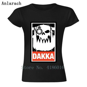 Knitted Crew Neck T-Shirt Dakka Waaagh Orks 40k Tee Shirt Top Tee Letters Women T Shirt Solid Color Tshirt For Hilarious Best image