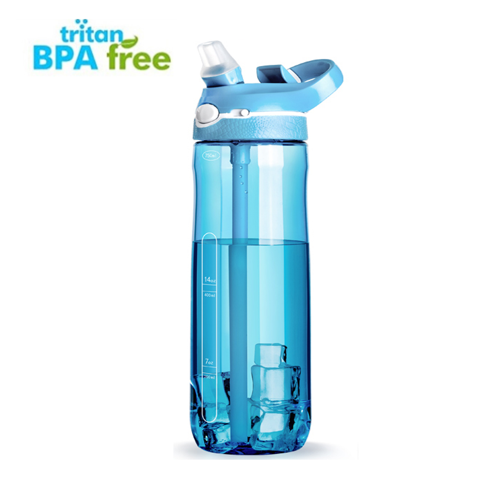 Motivational Water Bottle With Straw and Times To drink [750ml/25oz] - BPA Free With Flip Nozzle and Leakproof cap [5 Colours] image