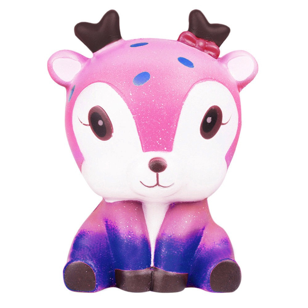 Galaxy Cute Deer Slow Rising Squeeze Kids Toy Gift Exquisite Fun Cartoon Sparkly Critters Toys Squeeze Kid Adult Toys Gift #A