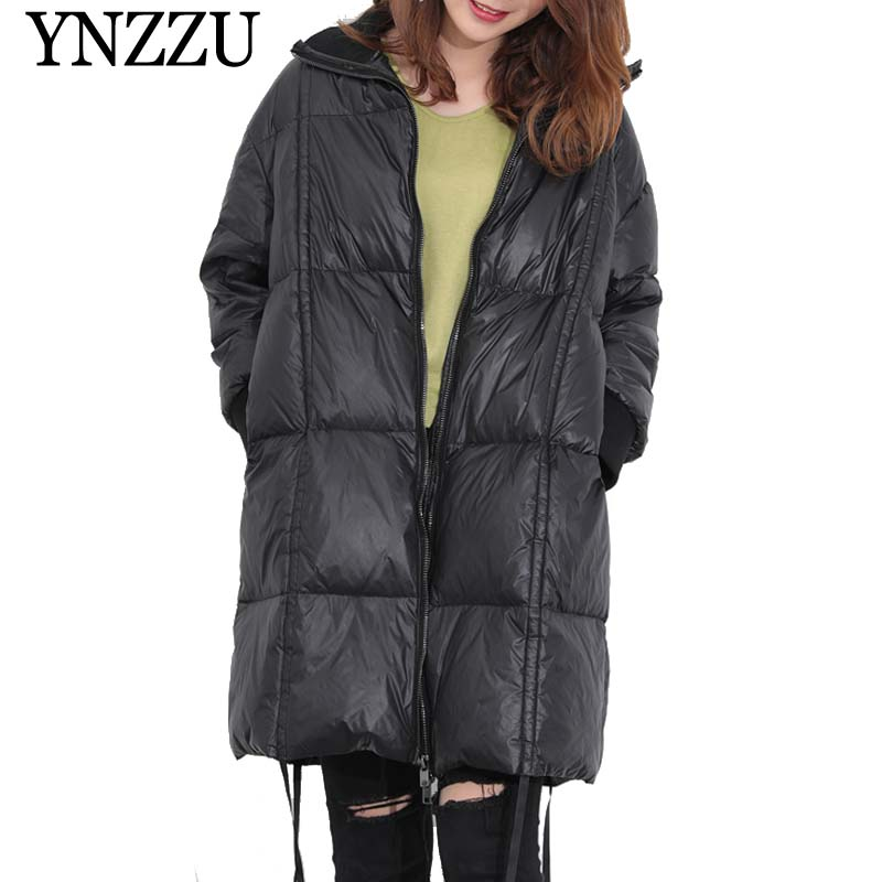 YNZZU Winter turtleneck Black Thick warm Long   Down     coat   Loose Long sleeve Drawstring   Down   jacket 2019 New Zipper Overcoat YO913