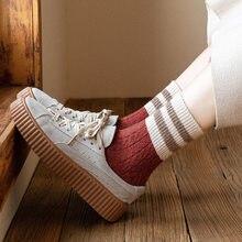 Jarajuku Style laine chaussettes femmes automne hiver deux rayures femme chaussettes haute qualité Calcetines Mujer Meias japonais