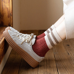 Jarajuku Style Wool Socks Women Autumn Winter Two Stripes Woman Socks High Quality Calcetines Mujer Meias Japanese