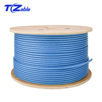 Cat6a SFTP Installation Cable Double Shield Solid Copper wires AWG23 0.57mm LSZH (Supports FTTH) 10G Network Wire Blue 7.5mm