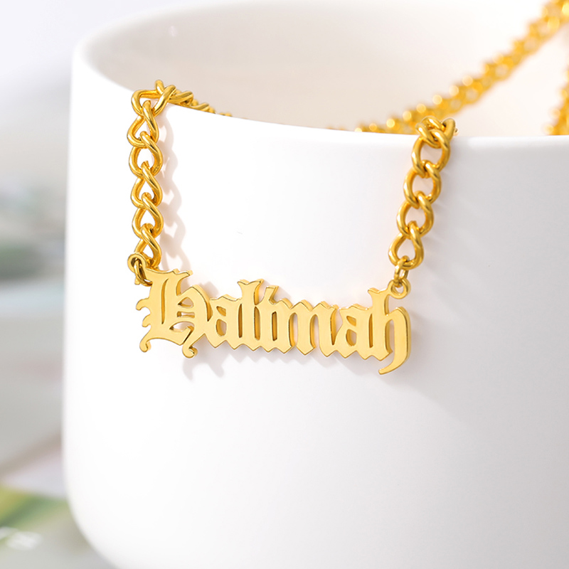 Custom Gothic Old English Nameplate Necklace For Women Stainless Steel Gold Chain Choker Necklaces Men Boho Pretty Jewelry Gift