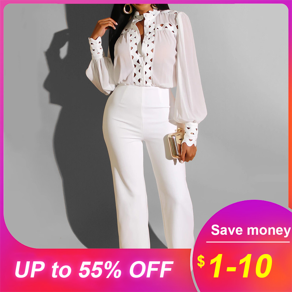 Autumn Winter Long Sleeve White Jumpsuit Elegant Lady Hollow Out African Party Long Jumpsuit Wide Leg Office Wear Playsuit 2019