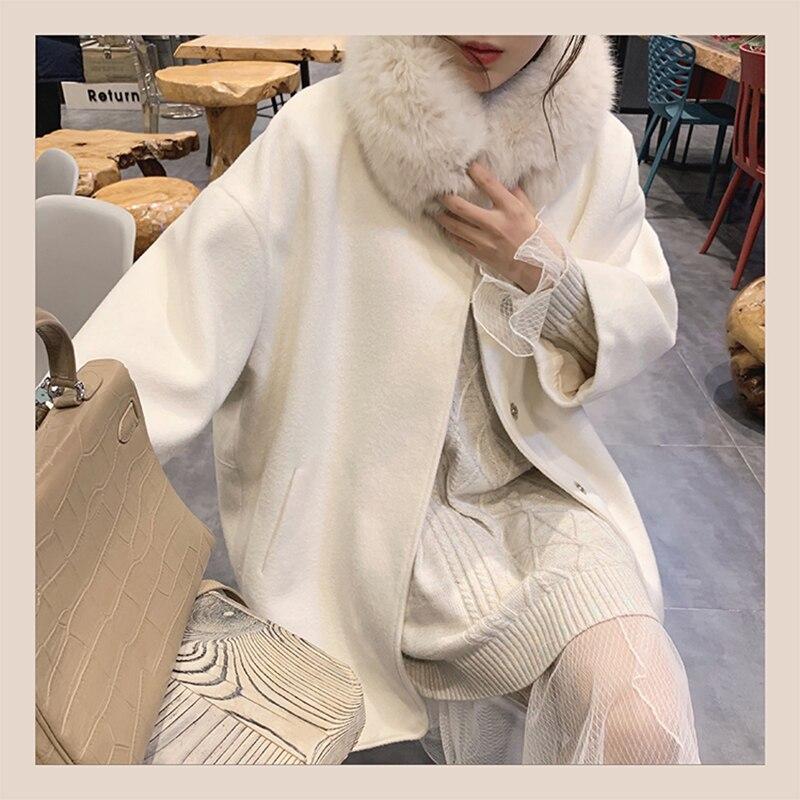 MISHOW Atumn Winter Fashion Fur Collar White Woolen Coat Women Causal Single-breasted Lapel Coat Tops  MX19D9724